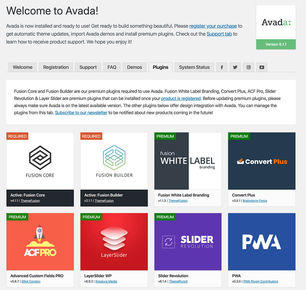 Avada plugins