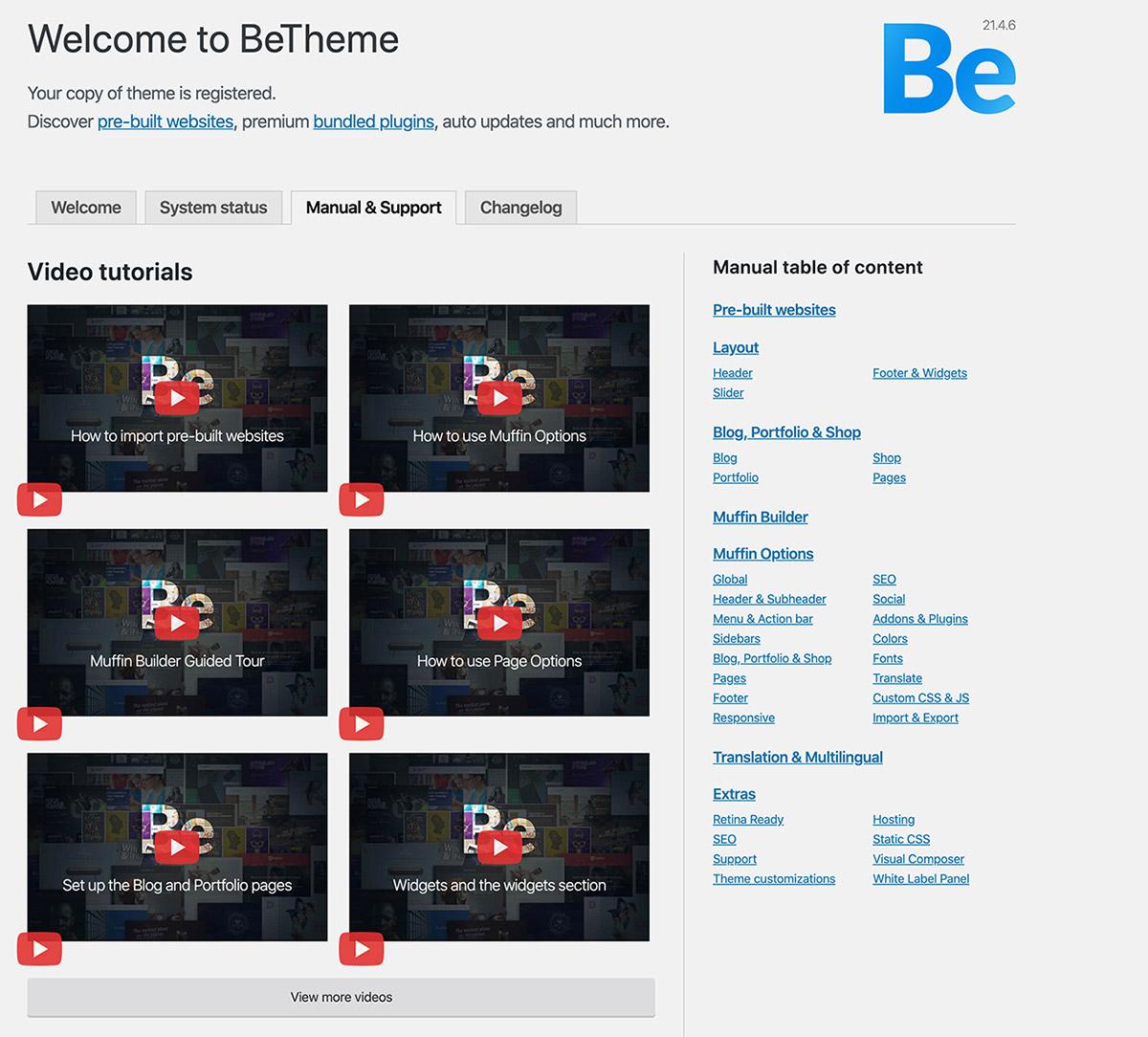 Be Theme Post Installation Screen