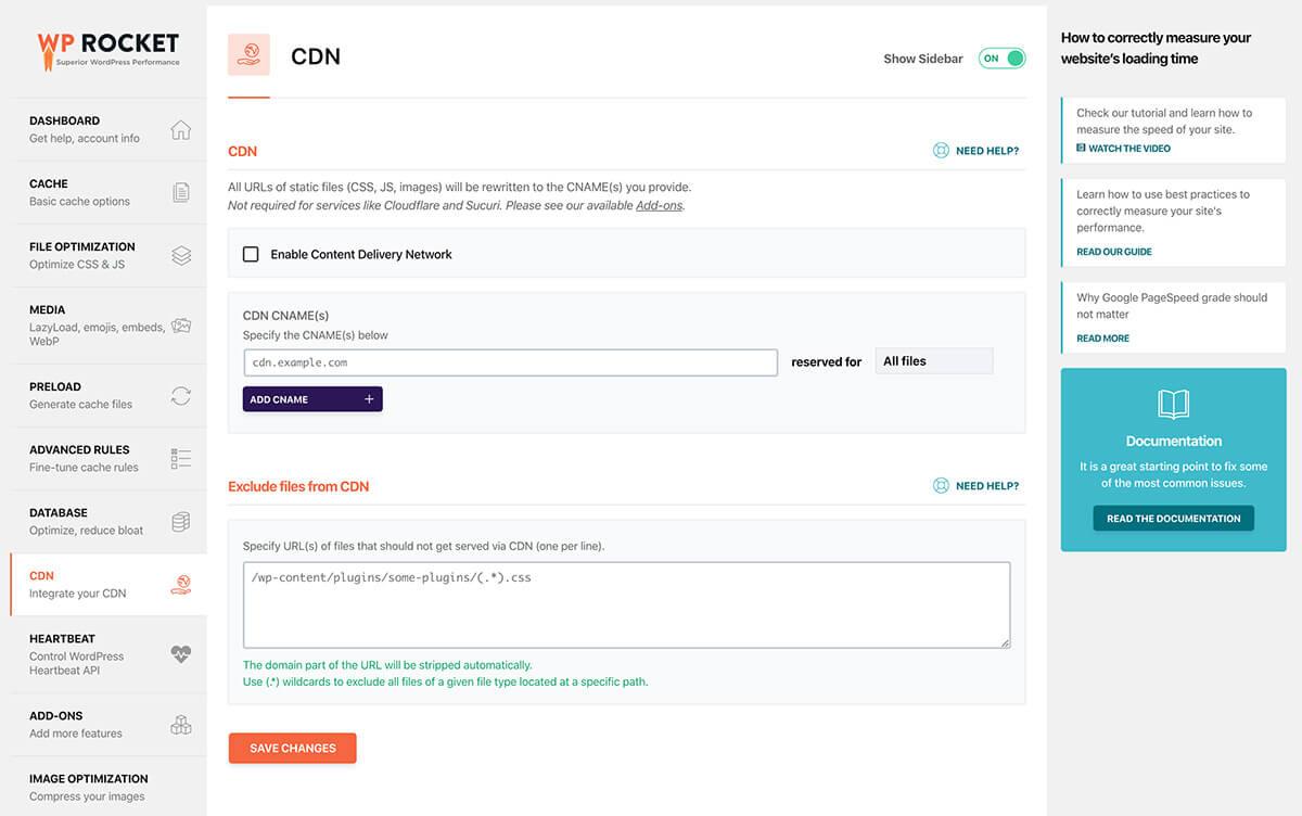 CDN Settings in WP Rocket