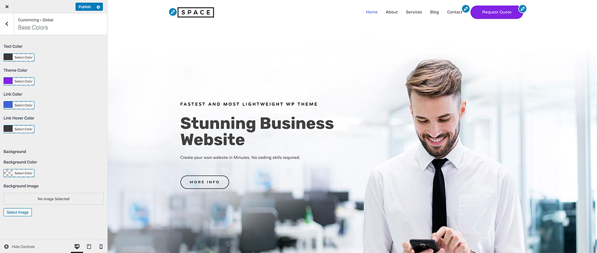 Customizing site with Live Customizer