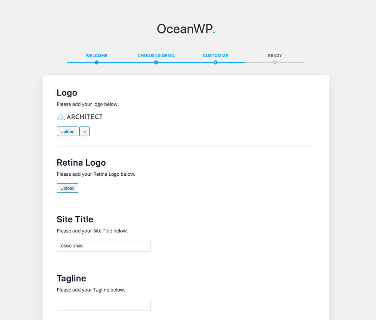 OceanWP basic customization