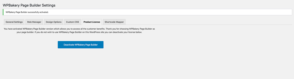Activating WPBakery Page Builder