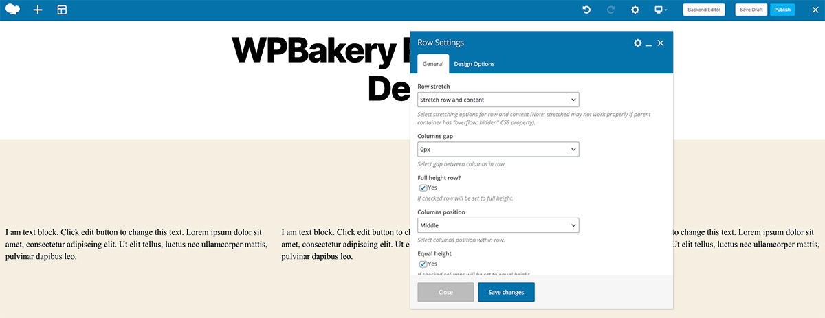 Row Settings WPBakery Page Builder