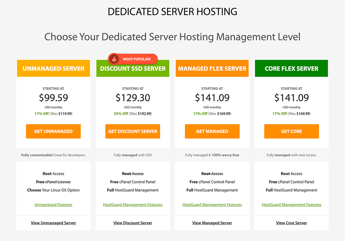 Dedicated Plans A2 Hosting