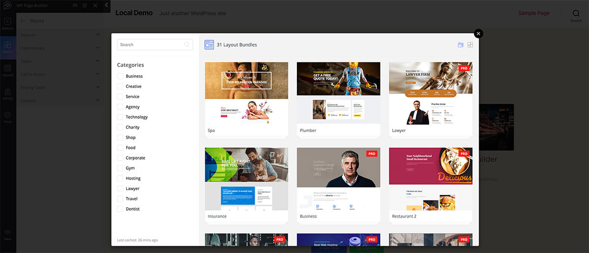 WP Page Builder Plugin Layouts